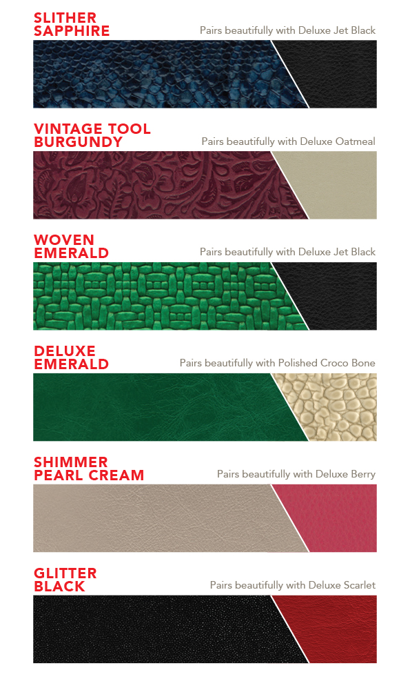 Leather swatches for Mosaic Wedding Album