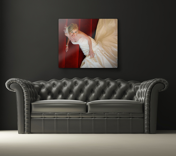 Metal print hanging over a sofa