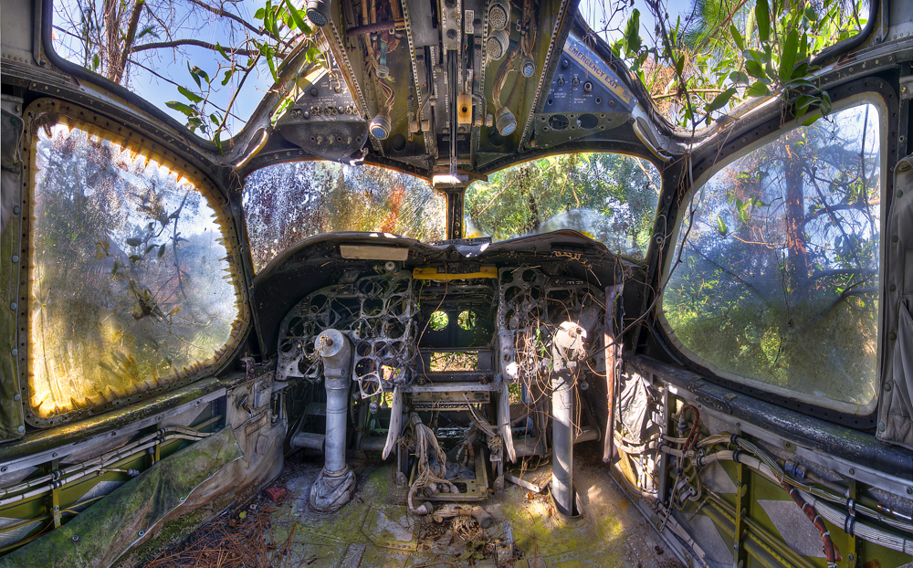 Walter Arnold's urban decay image of the cockpit of an aeroplane.
