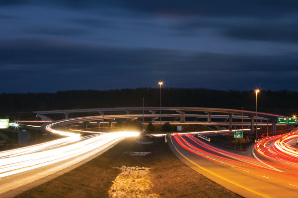 Long exposure image of the 65 and 60 ifreeway interchange at dusk