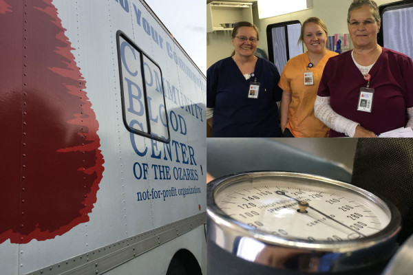 collage of images from Black River Imaging's Blood Drive