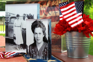 vintage photos mounted on acrylic blocks on a 4th of july picnic table