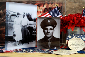 vintage photos mounted on acrylic blocks in a 4th of july decor setting