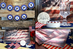collage of stationery items to create a 4th of July tablescape including acrylic tray, paper placemats, paper coasters