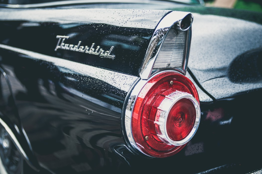 a photo of the driver's side tail light of a vintage Thunderbird