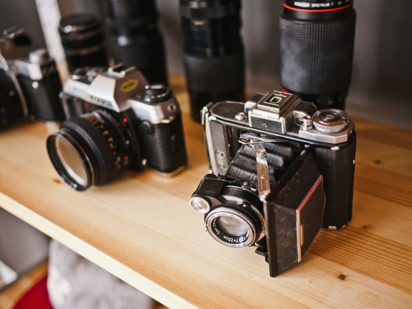 a photograph of vintage cameras