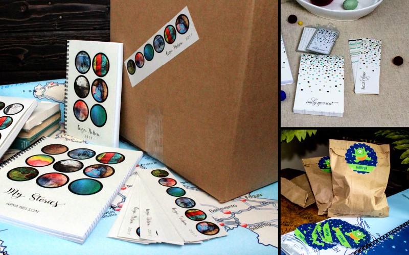 collage of different shapes and sizes of stickers