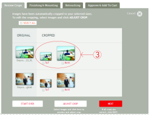rapid ordering shows you a preview of all crops applied to a single photo print image