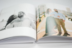 close up shot of non-hinged pages in a black river imaging photo book