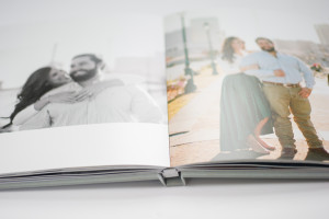 close-up shot of hinged lay-flat photo book by black river imaging