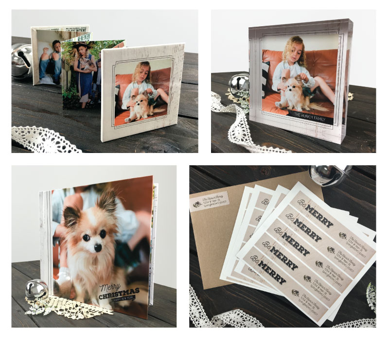 collage of free vintage holiday design templates on acrylic photo blocks, accordion memory book, photo book and address labels for greeting cards